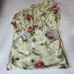 Vintage lingerie midi nightgown lace and roses